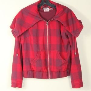 Juicy Couture Zip Front Red Plaid Flannel Jacket.